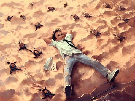 Фото Мальчик лежит на песке, в окружении ползущих черепах с часами в панцире, рядом лежит бутылка с надписью SOS, художник aquasixio