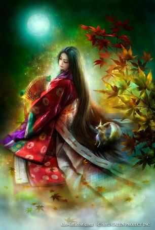 Фото Принцесса Кагуя / Kaguya в красном кимоно и веером под лунным светом