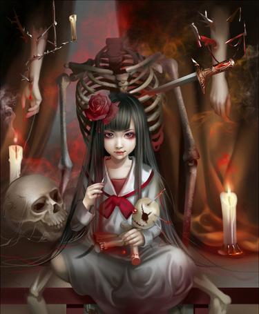 Фото Девочка втыкает иглы в куклу, art by emilyg