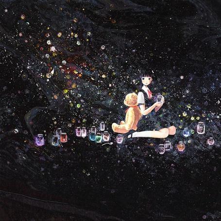 Фото Девушка с мишкой и банками, Art by 純