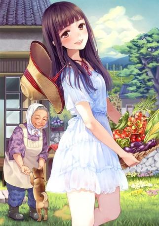 Фото Девушка с корзинкой овощей, за ее спиной бабушка с собакой