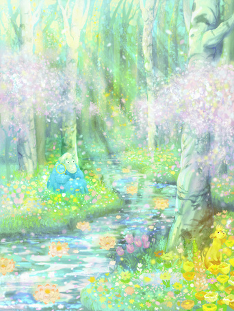 Фото Сказочное существо, похожее на крокодила, с лупой сидит среди цветов на берегу небольшой реки, протекающей среди деревьев, art by ウィンク名無し