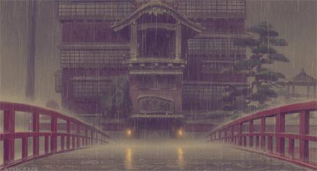 Фото Мост, ведущий к дому, идет дождь, отрывок из аниме Spirited Away / Унесенные призраками