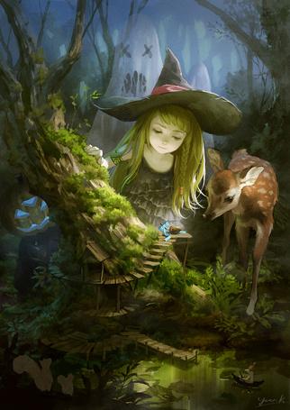 Фото Маленькая ведьма с олененком смотрят на желудь, перевязанный голубым бантиком, лежащий на лесенке, на поросшим мхом стволе покосившегося дерева, из-за которого за ними наблюдает монстр с тыквенной головой, а за спиной у них стоит привидение