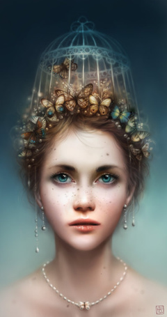 Фото Девушка с клеткой и бабочками на голове, art by escume