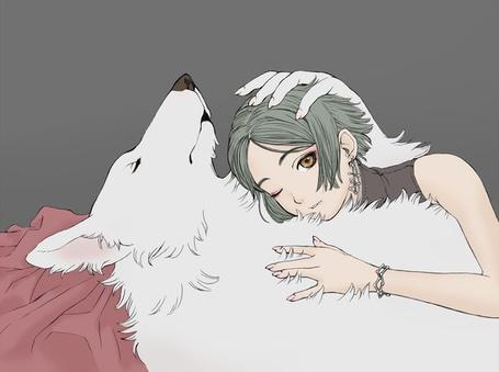 Фото Белый волк обнимает девушку