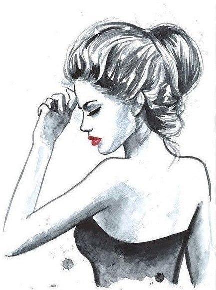 Фото Черно-белый рисунок девушки с ...: photo.99px.ru/photos/166795