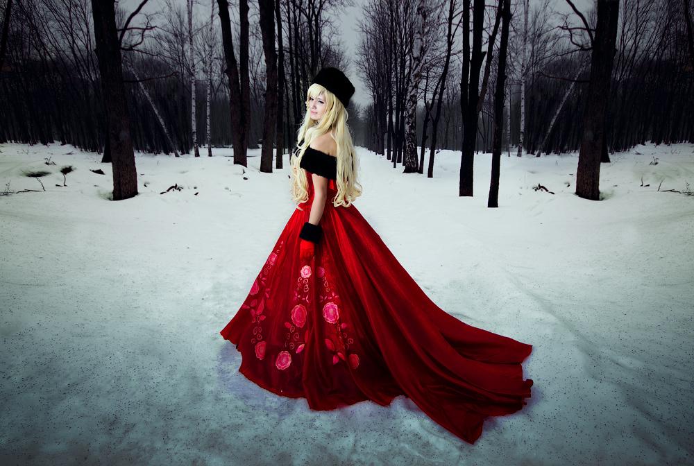 Зимняя фотосессия на улице в платье