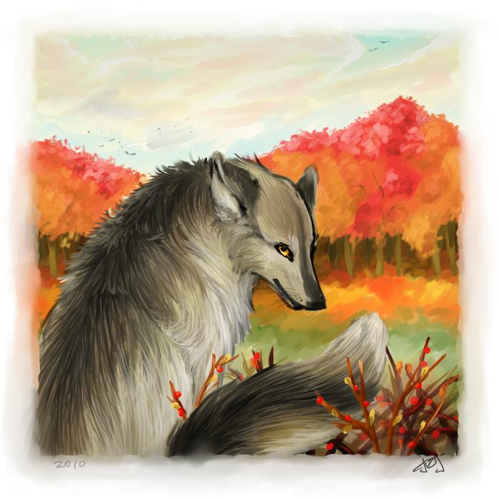 осенний волк рисунок объяснение есть