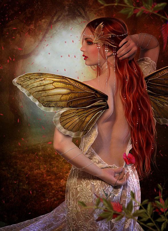 Фото Рыжеволосая фея повернулась спиной, придерживая одной рукой волосы а другой держит цветок на фоне леса и опадающих листьев, art by EstherPuche-Art