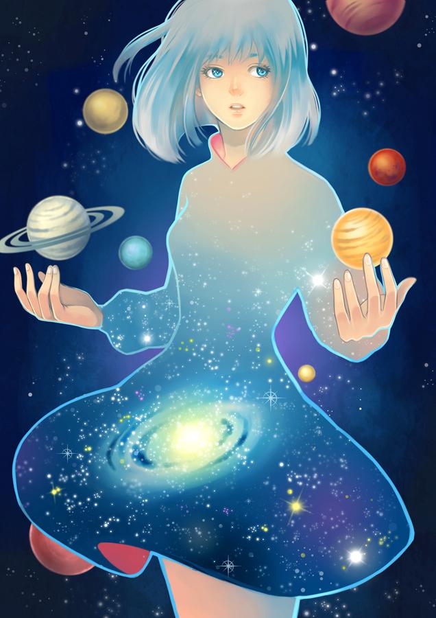 Девушка и космос рисунки