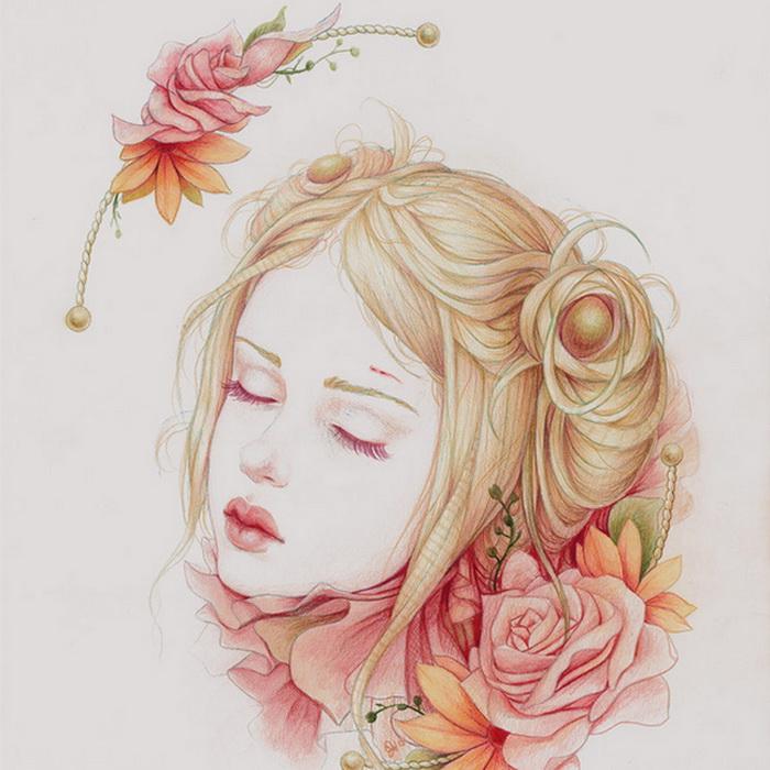 Фото нарисованная девушка с цветами