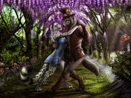 Фото Волк в человеческой одежде танцует с девушкой - снежным барсом, художник darkicewolf