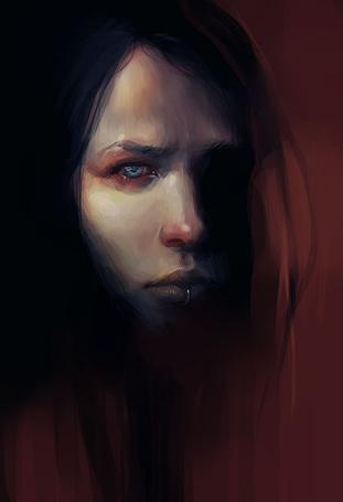 Фото Темноволосая девушка с пирсингом на губе, художник sleepingbird