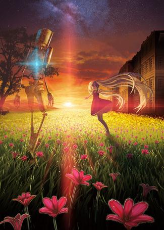 Фото Vocaloid Hatsune Miku / Вокалоид Хатсуне Мику и робот на фоне заката