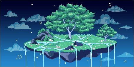 Парящий остров с деревьями и водопадами