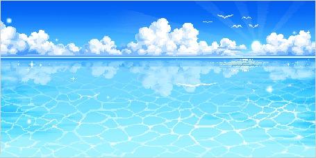 Фото Морская гладь, облака и чайки