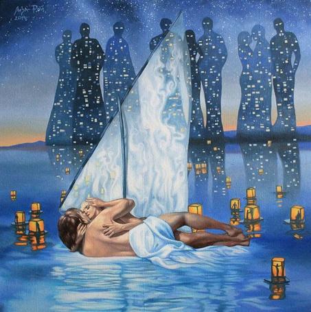 Фото Мужчина и женщина обнимаются на водной глади, по которой плывут фонари с людьми внутри, на заднем плане ночной город в виде человеческих силуэтов, рисунок Лизы Рэй
