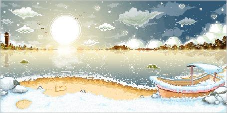 Фото Снег идет над гладью реки покрывая стоящую на берегу лодку на фоне восходящего солнца от которого отлетают птицы, вдали виднеется маяк