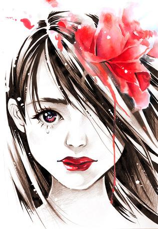 Фото Девушка со слезой под глазом и цветком в волосах, by naschi