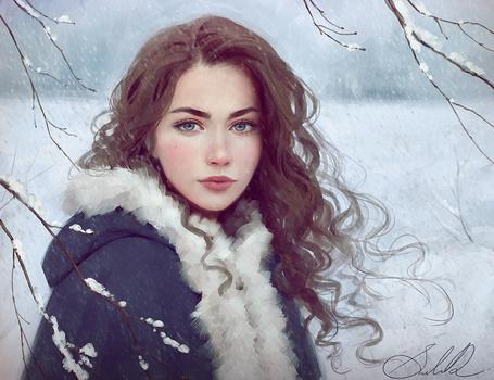 Фото Красивая голубоглазая девушка, у заснеженных веток дерева, художница Selenada