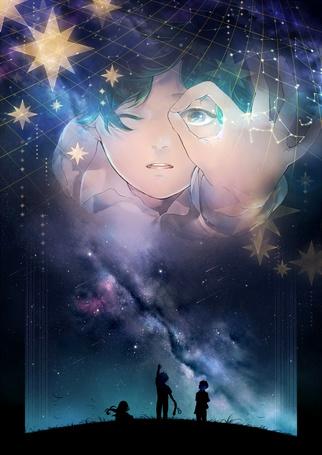 Фото Силуэты детей в траве на фоне ночного звездного неба, с которого на них глядит мальчик