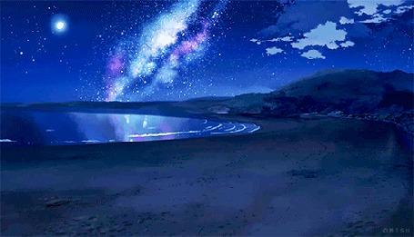 Фото Водоем на фоне ночного звездного неба