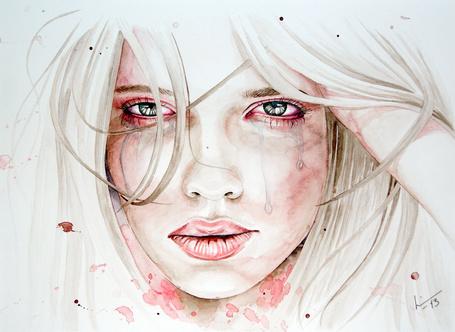 Фото Грустное лицо девушки со слезами на нем, by LinnFeyling