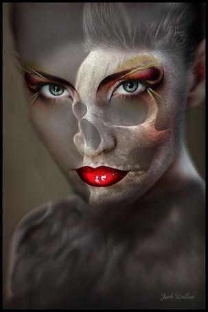 Фото Женское лицо и череп, Jack Dallas