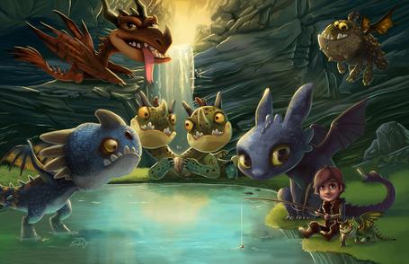 Фото Икинг удит рыбу, рядом с ним сидят и внимательно наблюдают за процессом все его друзья драконы, вместе с его любимцем Беззубиком, анимация на тему мультфильма Как приручить дракона 2 / How to Train Your Dragon 2 художника Эрик Проктор / Eric Proctor