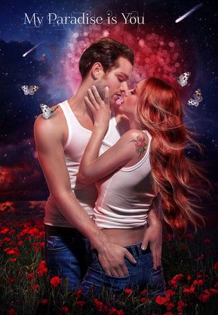 Фото Мужчина и женщина стоят в маковом поле, вокруг них летают бабочки (My Paradise is You / Мой рай-это ты)