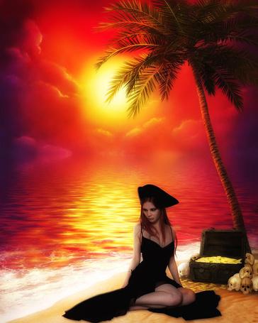 Фото Пиратка сидит на берегу моря под пальмой на фоне яркого заката рядом с ней сундук с монетами и черепа