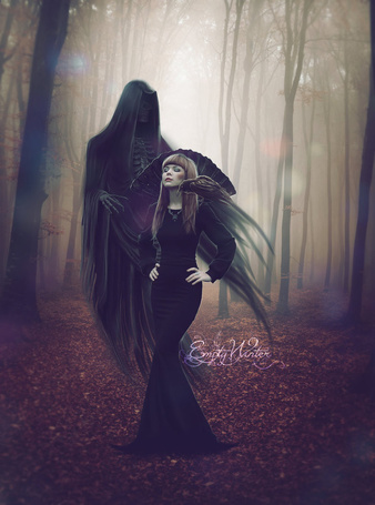 Фото Девушка с вороном на плече, за спиной которой смерть, работа emptywinter