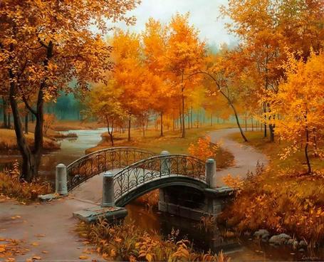 Фото Горбатый мостик в осеннем парке, художник Евгений Лупшин