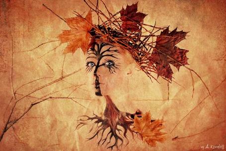 Фото Портрет голубоглазой девушки, контуры которого составляет осеннее дерево с корнями и листьями, by A. Krasnoff