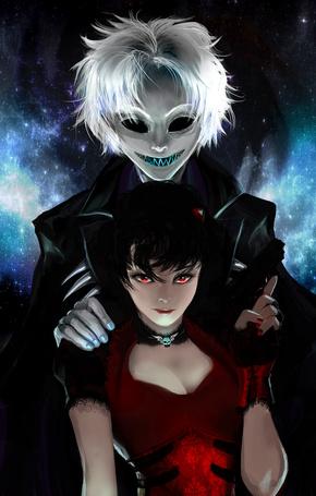 Фото Темноволосая девушка, за спиной которой стоит парень-демон