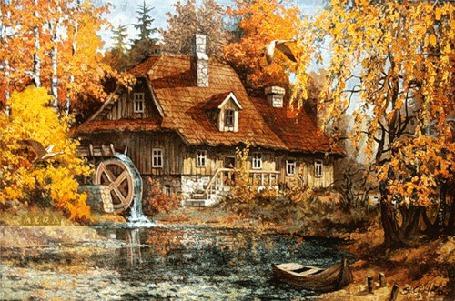 Фото Живописный дом с крутящейся водяной мельницей в осеннем лесу на берегу пруда