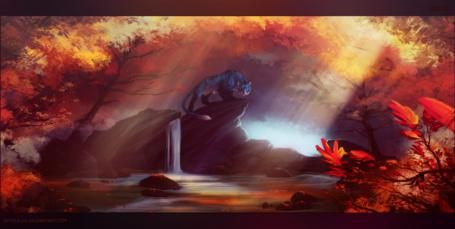 Фото Синий тигр стоит на скале, посреди осеннего леса, художник SkySealer