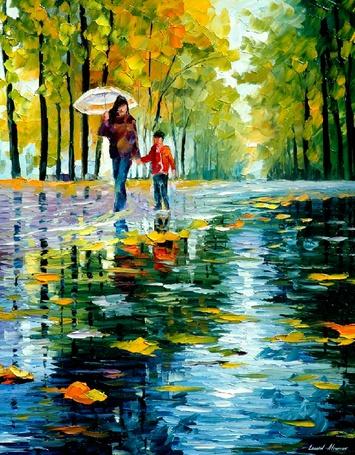 Фото Девушка с ребенком идет по мокрой, усыпанной осенними листьями дороге, художник Леонид Афремов