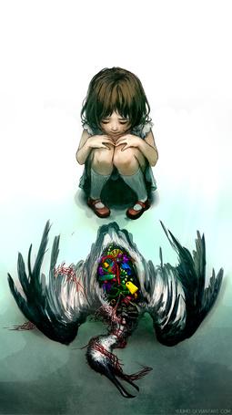 Фото Девочка смотрит на мертвую птицу, в распоротом брюхе которой разноцветные предметы