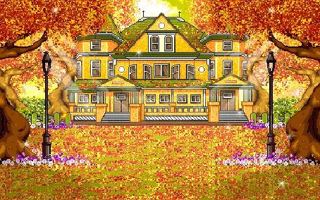 Фото За могучими деревьями, осыпанными желтой, осенней листвой, виднеется красивое здание с колоннами
