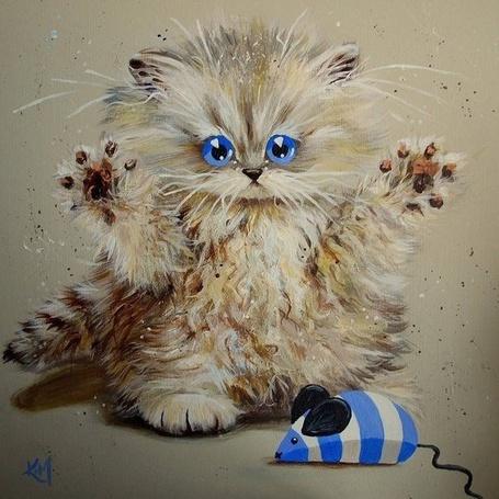 Фото Котенок играет с игрушечной мышью, художник Kim Haskins / Ким Хаскинс (© Chi), добавлено: 17.09.2014 11:09