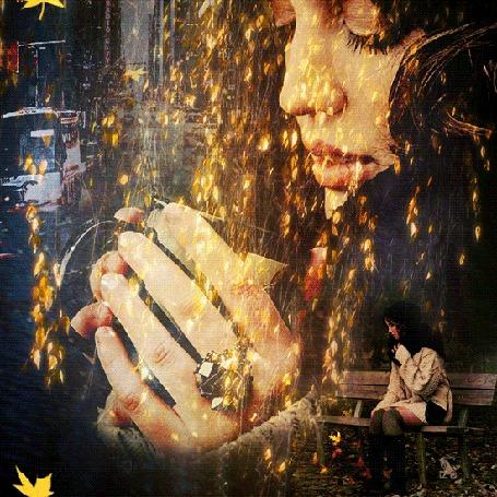 Фото На девушку, держащую чашку кофе в руках, нахлынули воспоминания - осень, падающие желтые листья и ее одинокая фигурка в парке, на скамейке, ожидающая его
