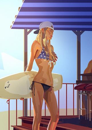 Фото Девушка в купальнике с америанским флагом с доской для серфинга
