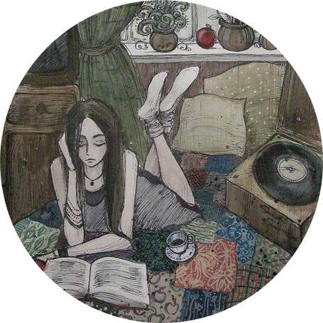 Фото Рисунок девушки, которая читает книгу на кровати
