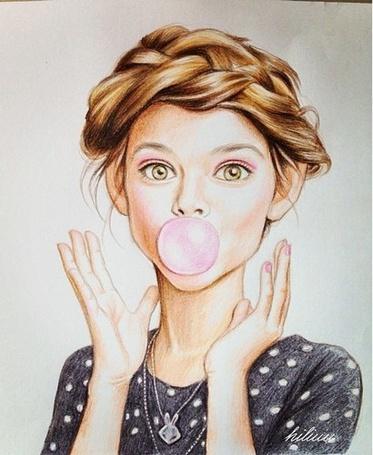 Фото Девушка с пузырем от жвачки у рта