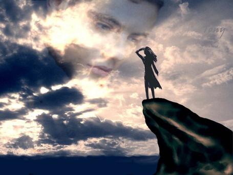 Фото Девушка смотрит вдаль с утеса, парень смотрит на нее с облаков (Tony)
