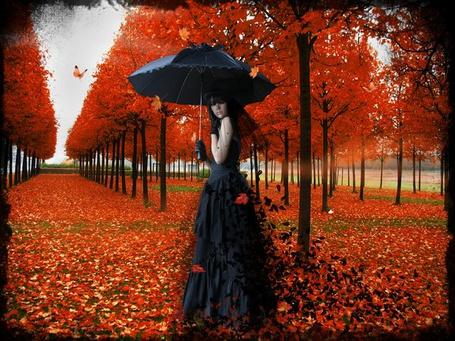 Фото Девушка с зонтом стоит на дорожке, усыпанной листьями, byandygoth666