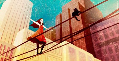 Фото Девушка идет по проводам, где сидит кошка, цифровые иллюстрации от Кирилла Роландо / Cyril Rolando