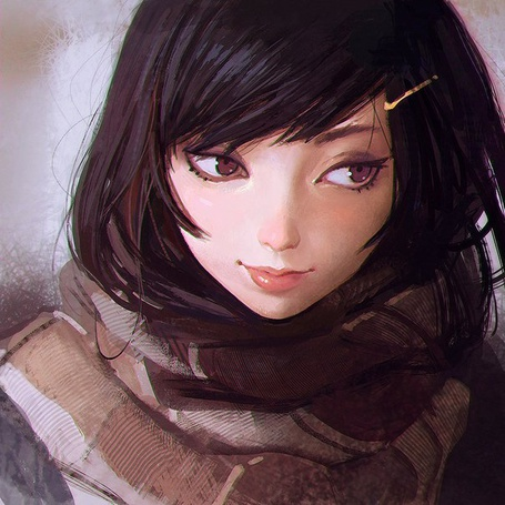 Фото Нарисованная девушка с шарфом на шее